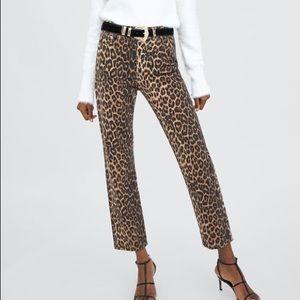 Zara Trafaluc Leopard Print High Rise Jeans 10 NWT